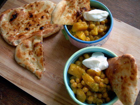 To Come Home to: Squash and Chickpea Curry with Naan